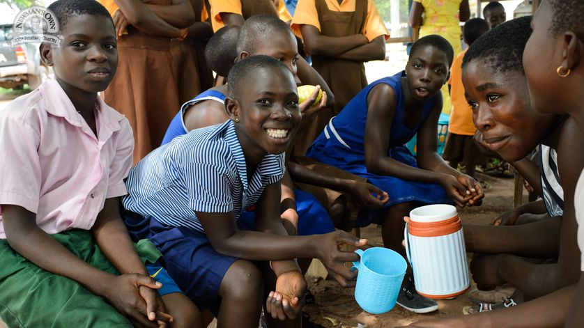 Young boys drinking clean water SHOFCO