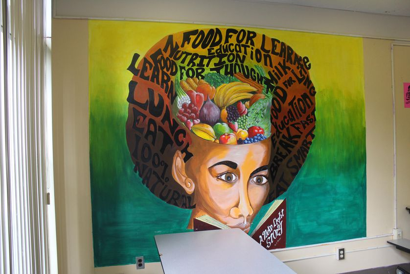 a mural in the school