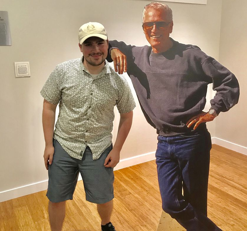 James poses with Paul Newman cut-out