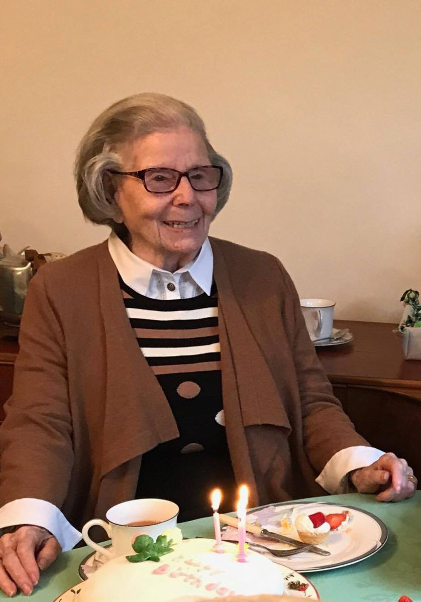 96-year-old Ina at her home in England.