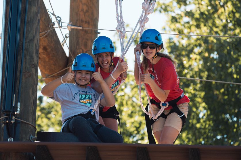 kids do zipline outside