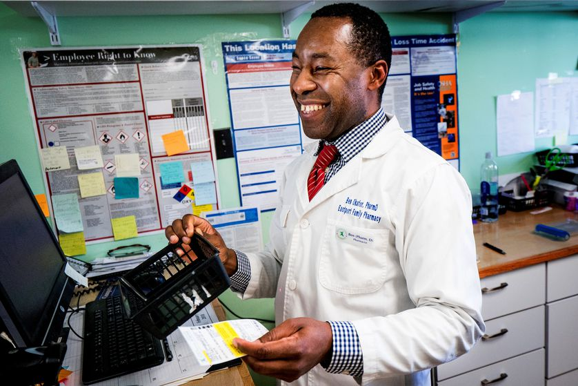 Pharmacist Ben Okafor knows every customer by name.