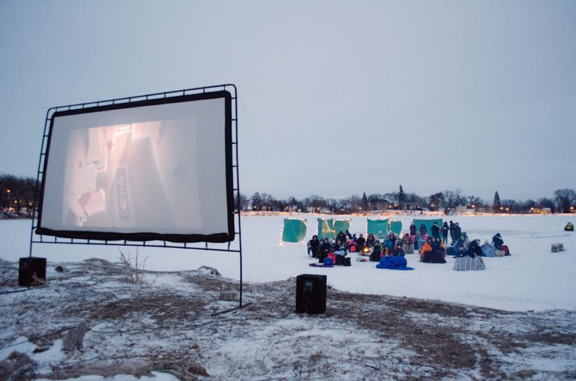 outside movie theater in the snow