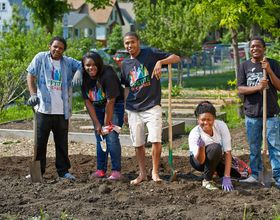 Youth leaders in garden