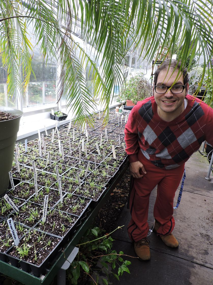 greenhouse attendant poses with seedlings