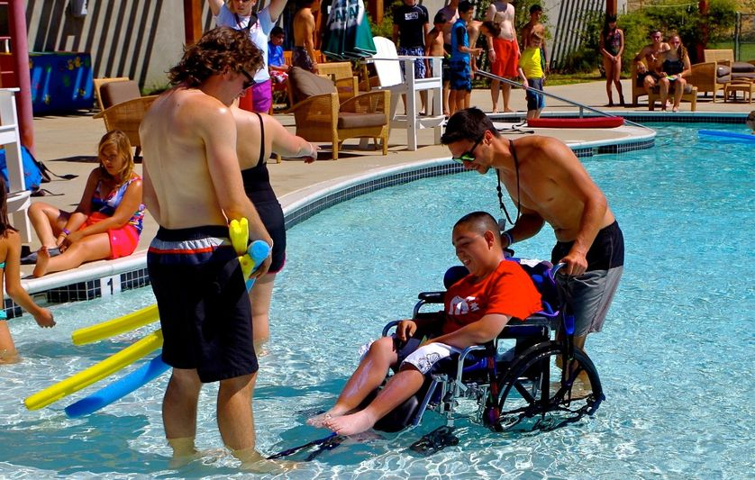 Kids play in pool in wheelchair