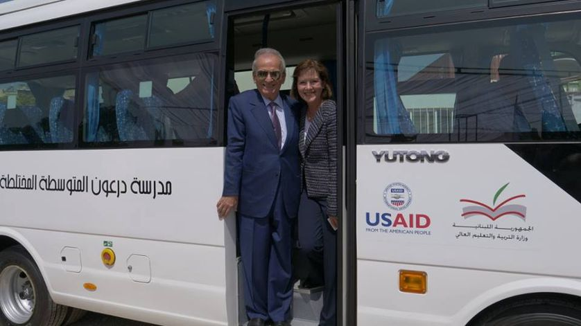 Lebanon Minister of Education and Higher Education Marwan Hamade and U.S. Ambassador Elizabeth Richard unveiled the new buses at a ceremony in July.