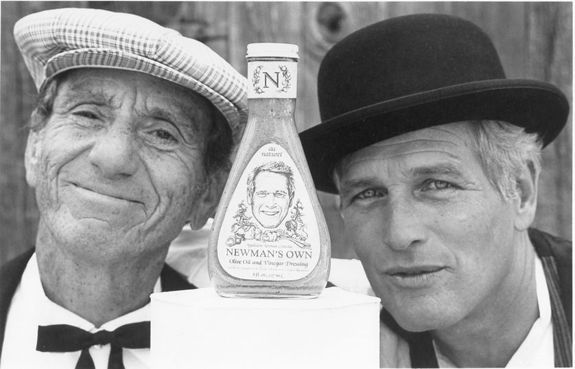 Paul Newman with salad dressing