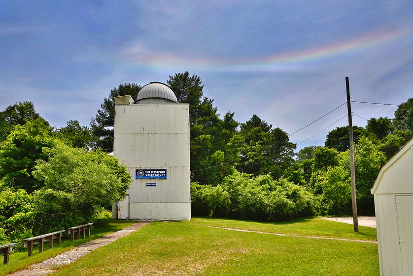 Westport Observatory with rainbow