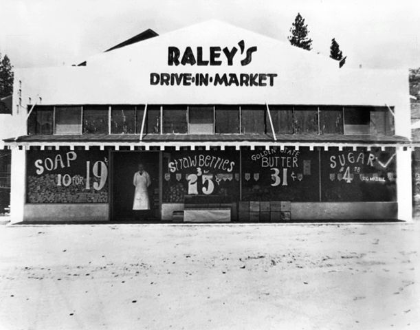 Old photo of first grocery store Raley's