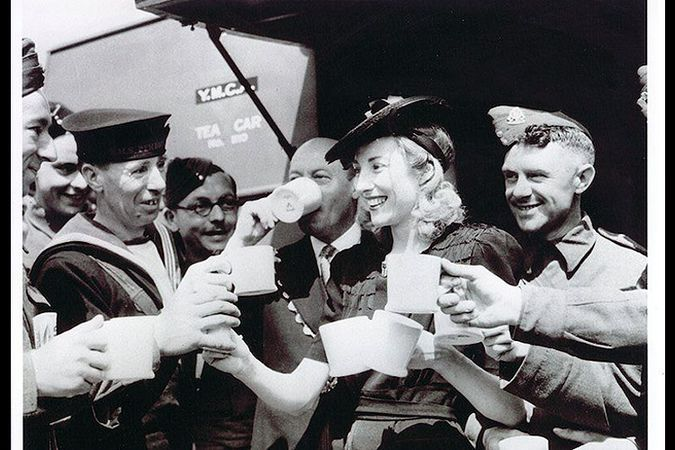 Dame Vera with troops and coffee