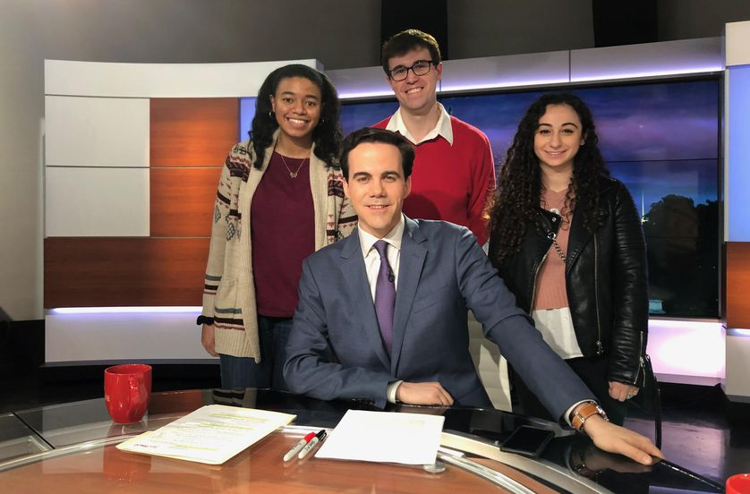 the journalist fellows with Bob at anchor desk