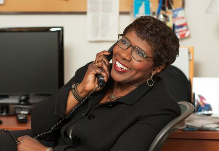 Gwen Ifill in her Newshour office