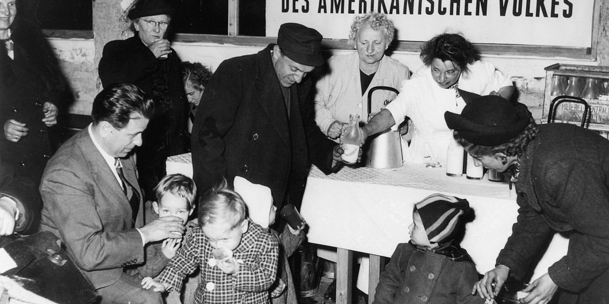 black and white photo of WWII refugees