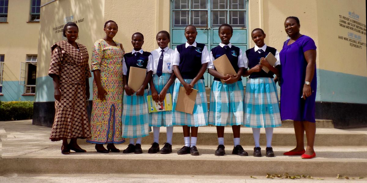 A group of young girl students in Kenya