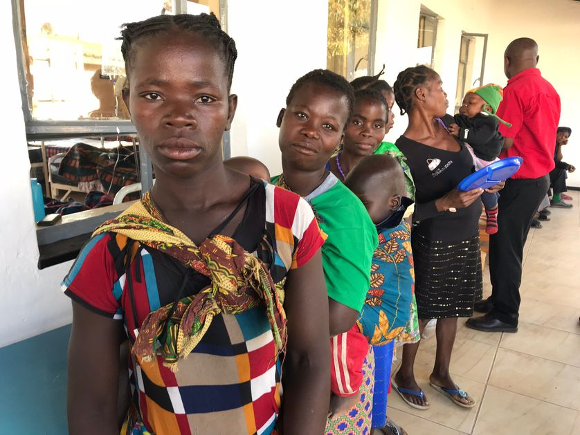 multiple women in line in Zambia