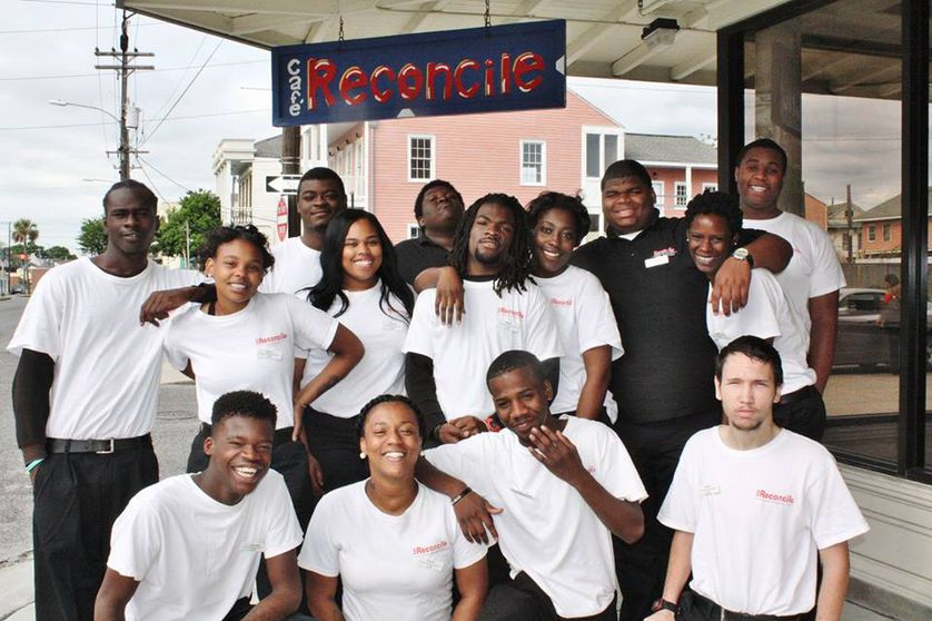 Group of young adults outside restaurant