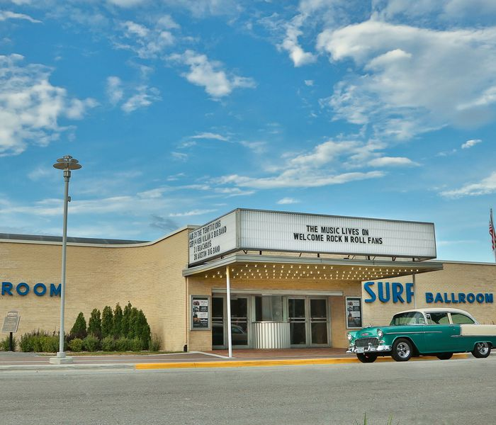 shot of surf ballroom with 1950s car