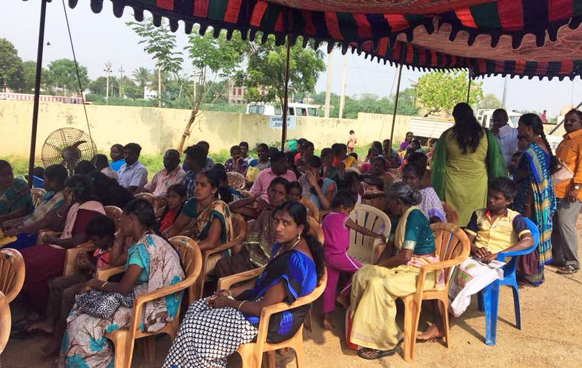 group of people in india at camp for free testing