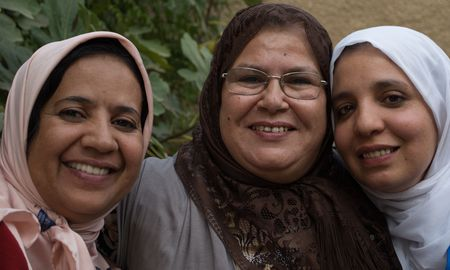 three older woman are house mothers at a school in Morocco